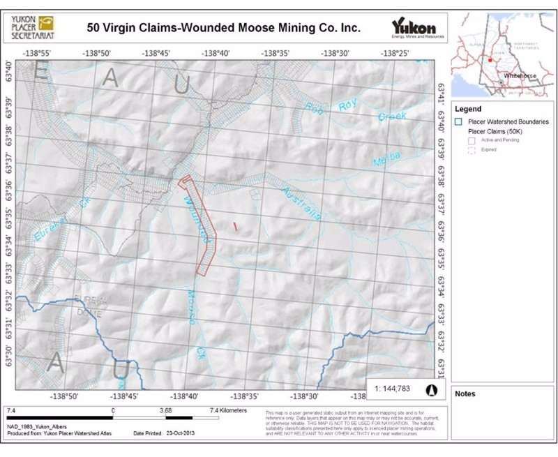 Yukon Wounded Moose Alluvial Gold Mine for Sale | 99mines com